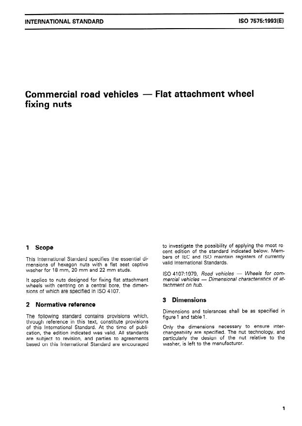 ISO 7575:1993 - Commercial road vehicles -- Flat attachment wheel fixing nuts