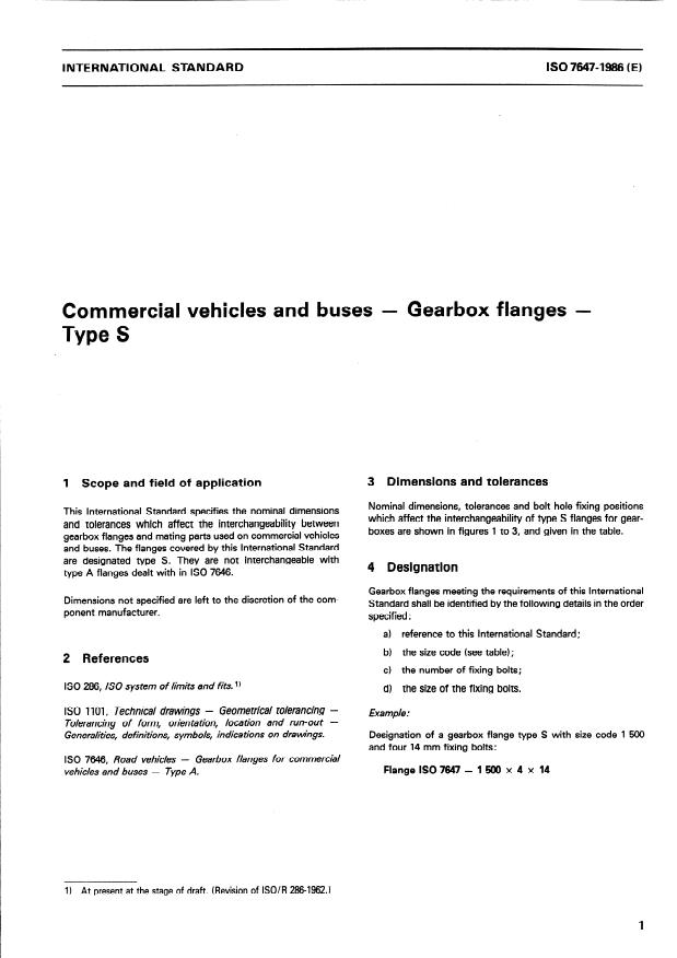 ISO 7647:1986 - Commercial vehicles and buses -- Gearbox flanges -- Type S