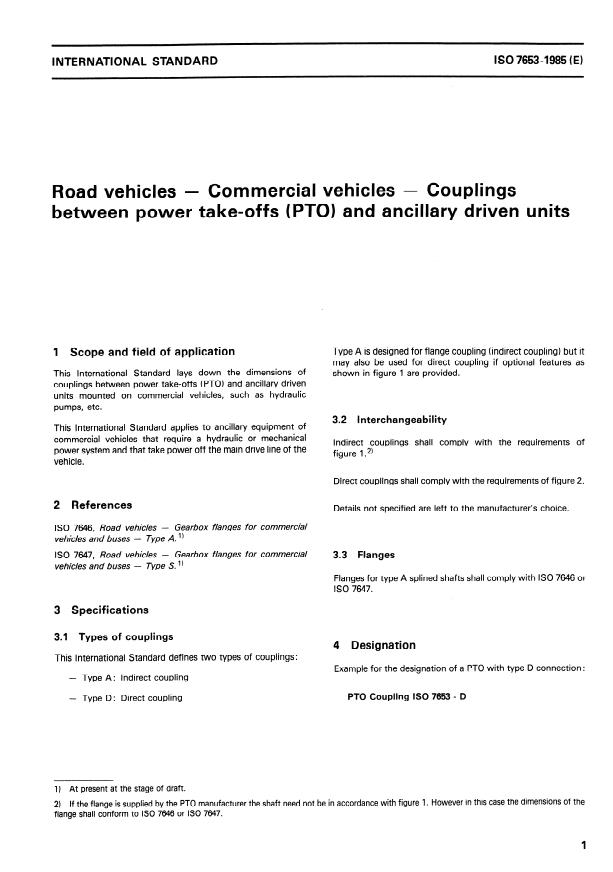 ISO 7653:1985 - Road vehicles -- Commercial vehicles -- Couplings between power take-offs (PTO) and ancillary driven units