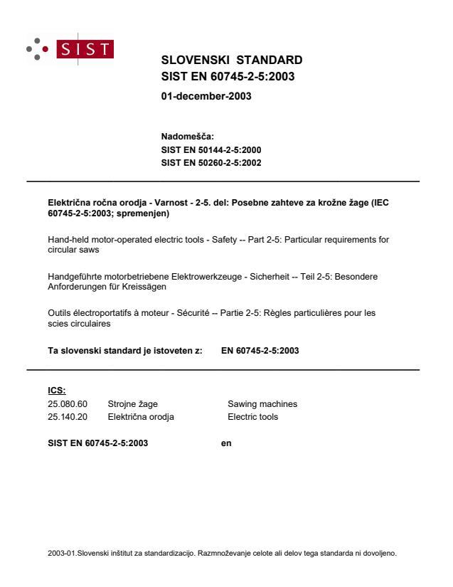 SIST EN 60745-2-5:2003