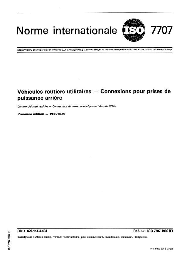 ISO 7707:1986 - Véhicules routiers utilitaires -- Connexions pour prises de puissance arriere