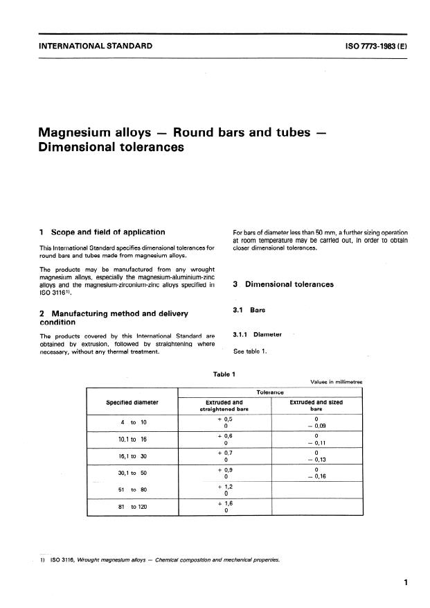 ISO 7773:1983 - Magnesium alloys -- Round bars and tubes -- Dimensional tolerances
