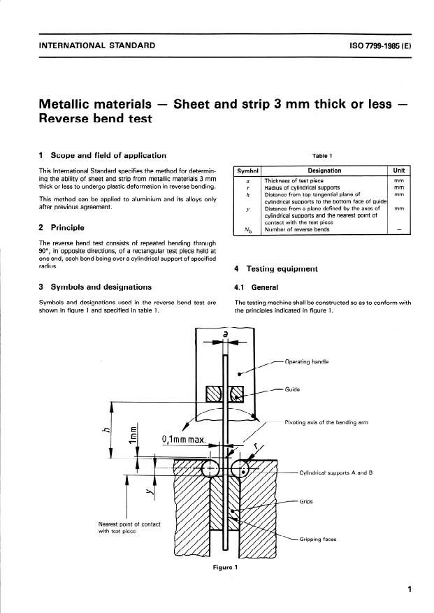 ISO 7799:1985 - Metallic materials -- Sheet and strip 3 mm thick or less -- Reverse bend test