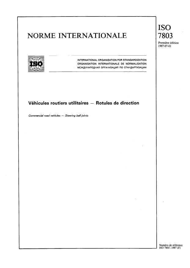 ISO 7803:1987 - Véhicules routiers utilitaires -- Rotules de direction