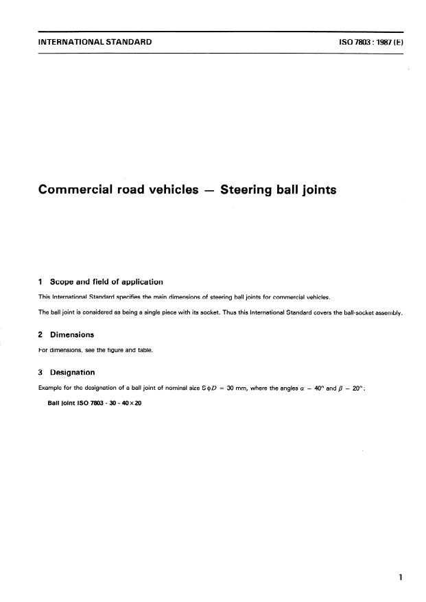 ISO 7803:1987 - Commercial road vehicles -- Steering ball joints