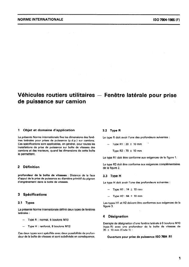 ISO 7804:1985 - Véhicules routiers utilitaires -- Fenetre latérale pour prise de puissance sur camion
