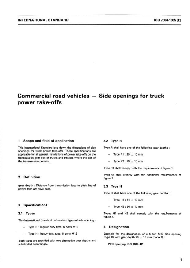 ISO 7804:1985 - Commercial road vehicles -- Side openings for truck power take-offs
