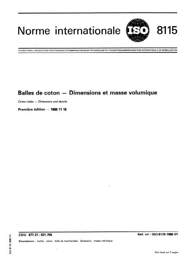 ISO 8115:1986 - Balles de coton -- Dimensions et masse volumique