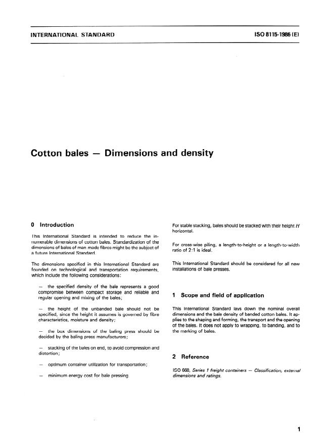ISO 8115:1986 - Cotton bales -- Dimensions and density