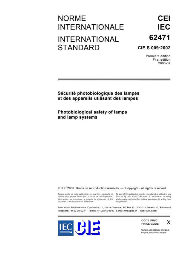IEC 62471:2006 - Photobiological safety of lamps and lamp systems