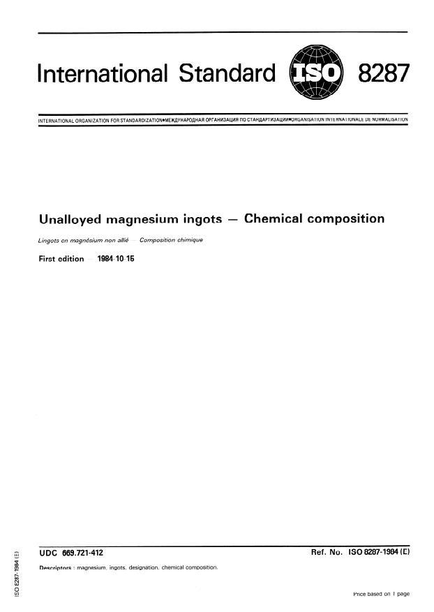ISO 8287:1984 - Unalloyed magnesium ingots -- Chemical composition