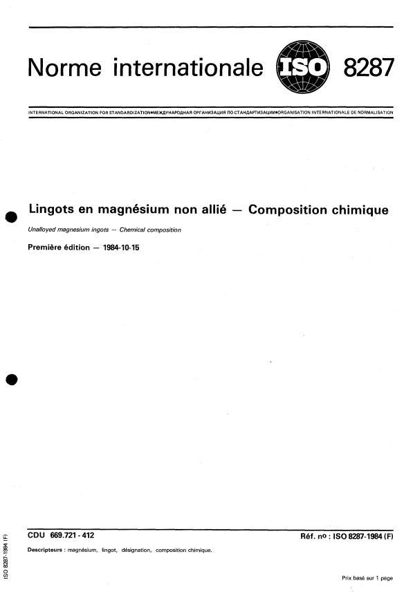 ISO 8287:1984 - Lingots en magnésium non allié -- Composition chimique