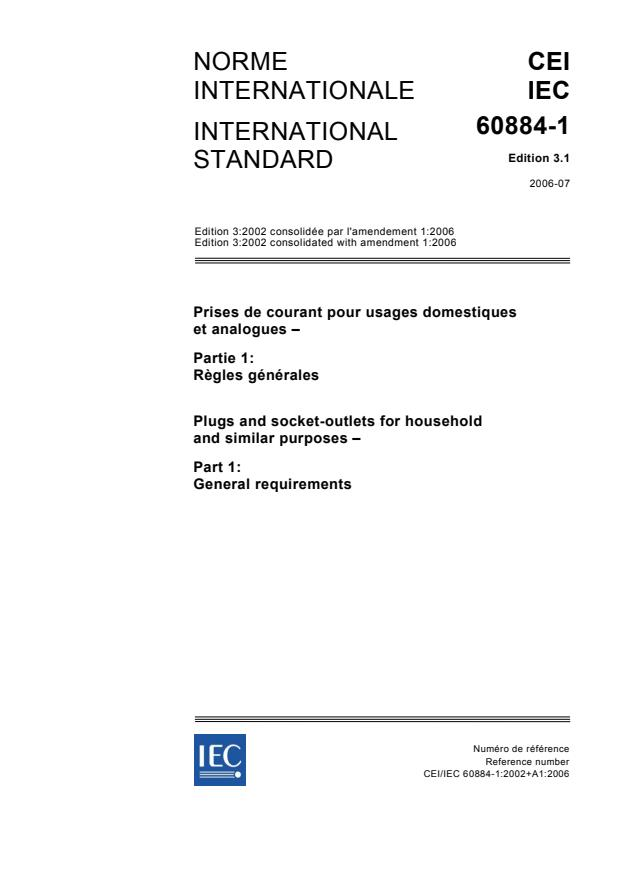 IEC 60884-1:2002+AMD1:2006 CSV - Plugs and socket-outlets for household and similar purposes - Part 1: General requirements