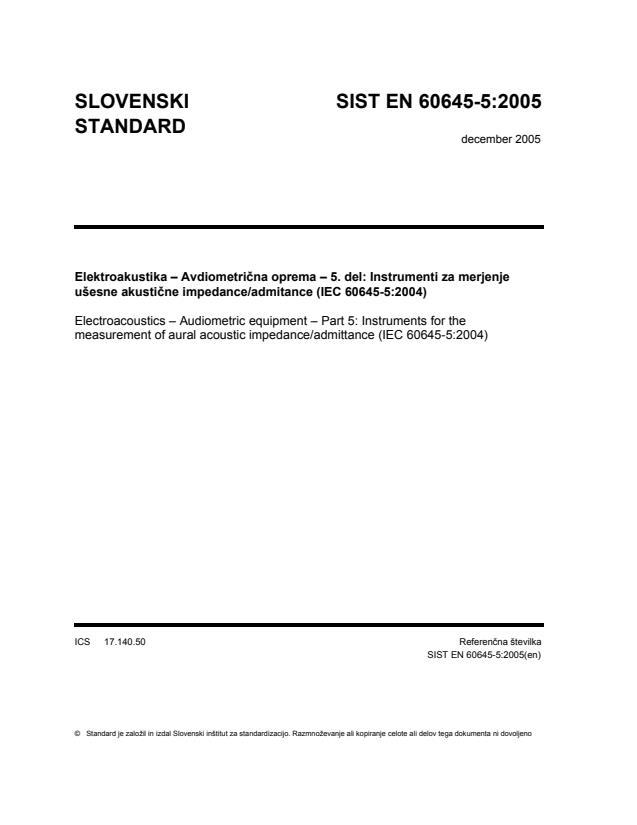 EN 60645-5:2005