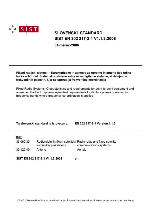 SIST EN 302 217-2-1 V1.1.3:2006