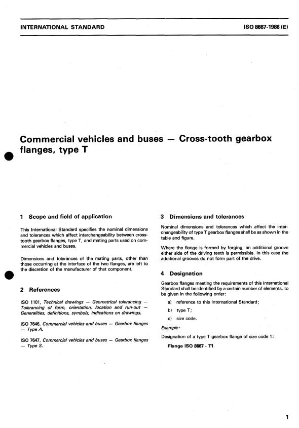 ISO 8667:1986 - Commercial vehicles and buses -- Cross-tooth gearbox flanges, type T
