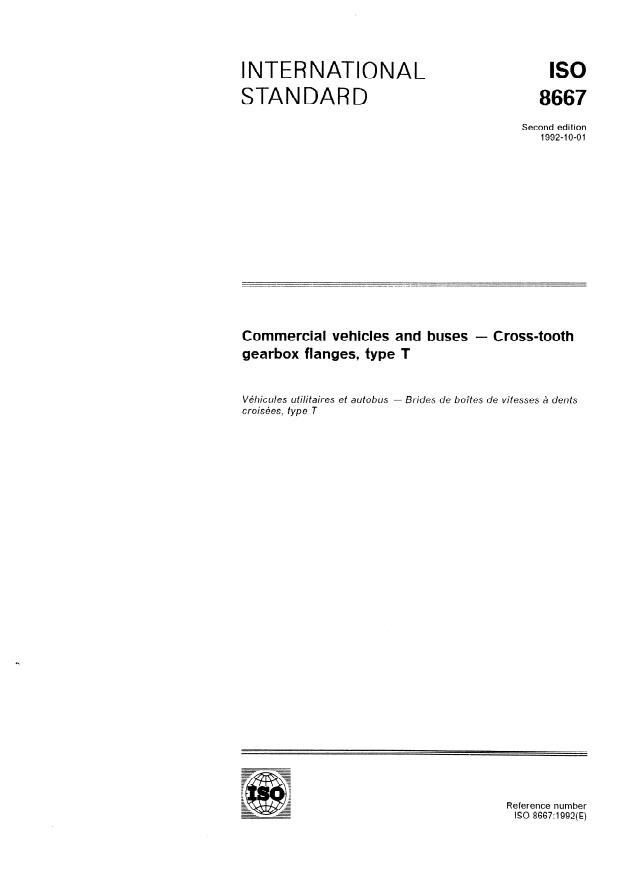 ISO 8667:1992 - Commercial vehicles and buses -- Cross-tooth gearbox flanges, type T