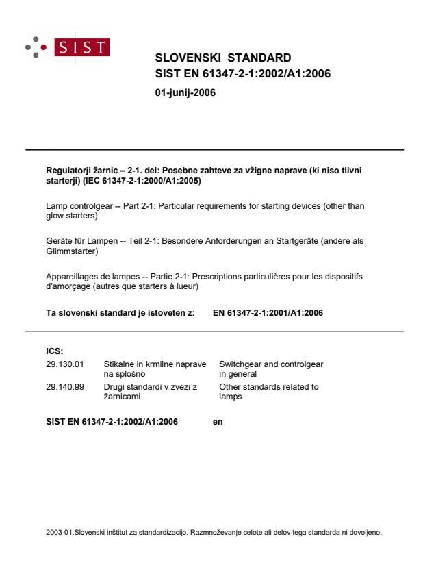 SIST EN 61347-2-1:2002/A1:2006