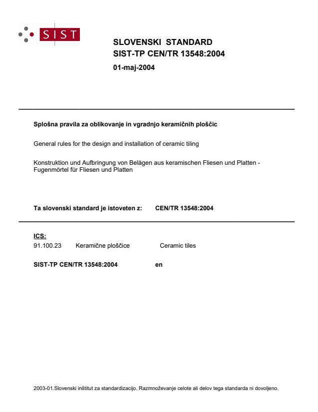 SIST-TP CEN/TR 13548:2004