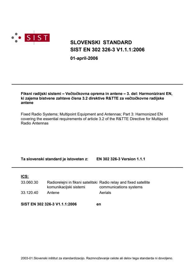 SIST EN 302 326-3 V1.1.1:2006