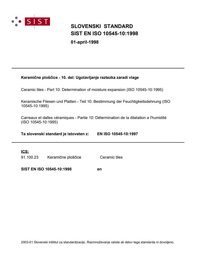 EN ISO 10545-10:1998