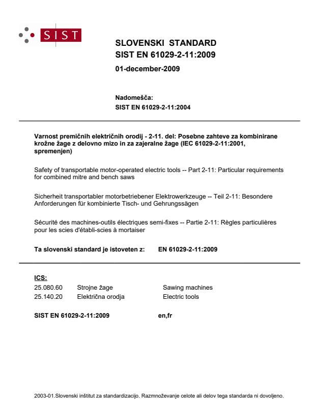 SIST EN 61029-2-11:2009