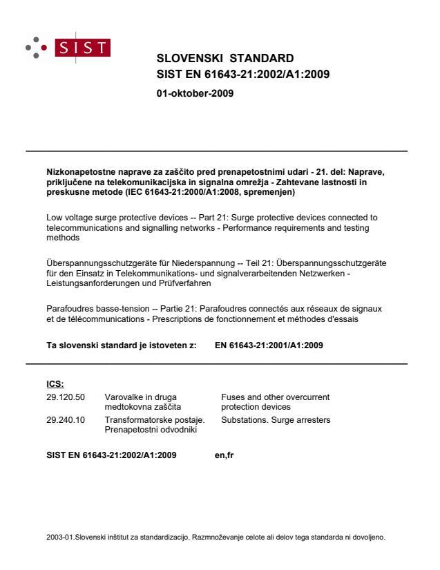 EN 61643-21:2001/A1:2009