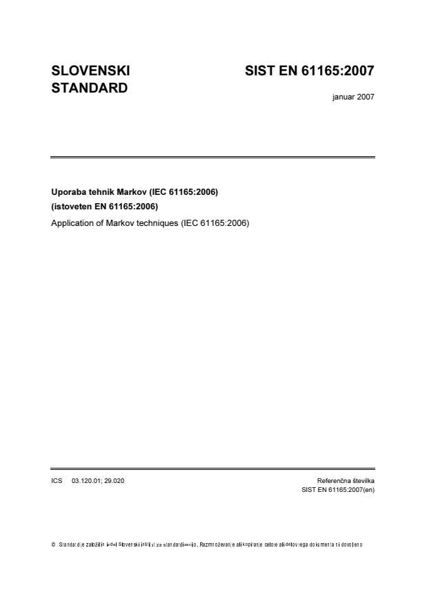 EN 61165:2007 - natisnjeno za čitalnico