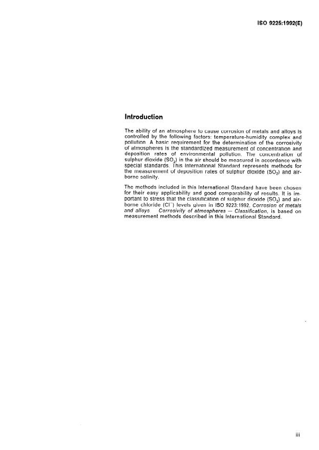 ISO 9225:1992 - Corrosion of metals and alloys -- Corrosivity of atmospheres -- Measurement of pollution