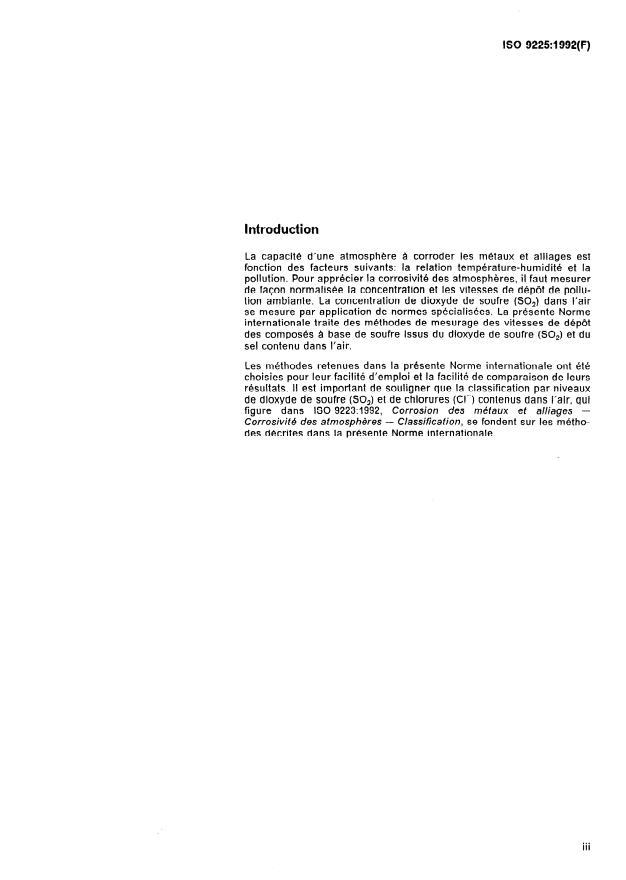 ISO 9225:1992 - Corrosion des métaux et alliages -- Corrosivité des atmospheres -- Mesurage de la pollution