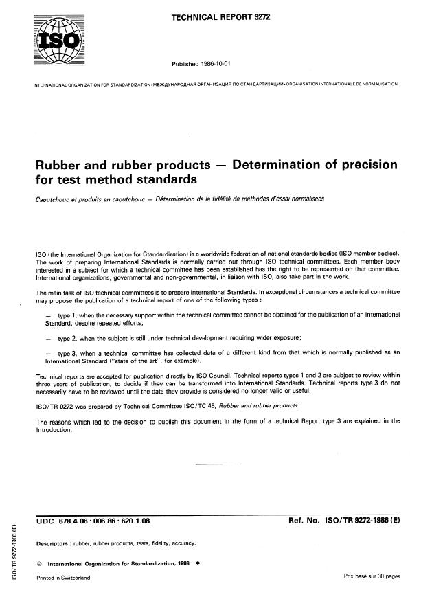 ISO/TR 9272:1986 - Rubber and rubber products -- Determination of precision for test method standards