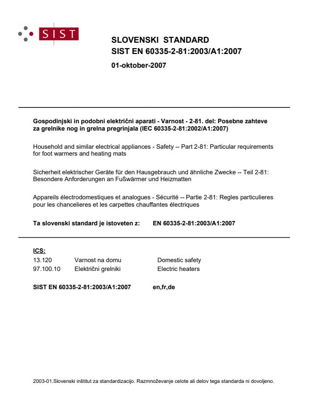 SIST EN 60335-2-81:2003/A1:2007