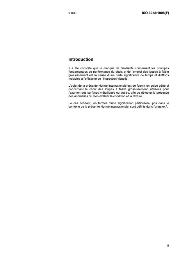 ISO 3058:1998 - Essais non destructifs -- Moyens d'examen visuel -- Choix des loupes a faible grossissement