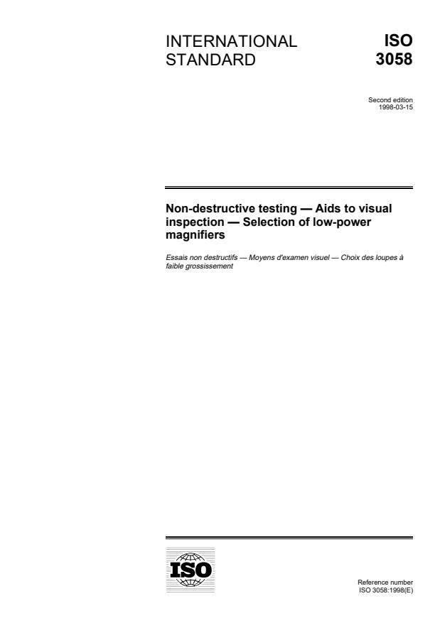 ISO 3058:1998 - Non-destructive testing -- Aids to visual inspection -- Selection of low-power magnifiers
