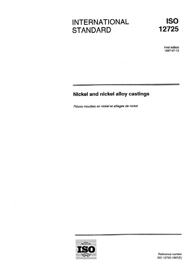 ISO 12725:1997 - Nickel and nickel alloy castings