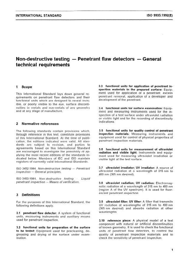 ISO 9935:1992 - Non-destructive testing -- Penetrant flaw detectors -- General technical requirements