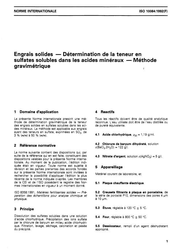 ISO 10084:1992 - Engrais solides -- Détermination de la teneur en sulfates solubles dans les acides minéraux -- Méthode gravimétrique