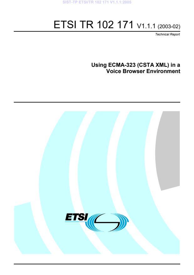 SIST-TP ETSI/TR 102 171 V1.1.1:2005