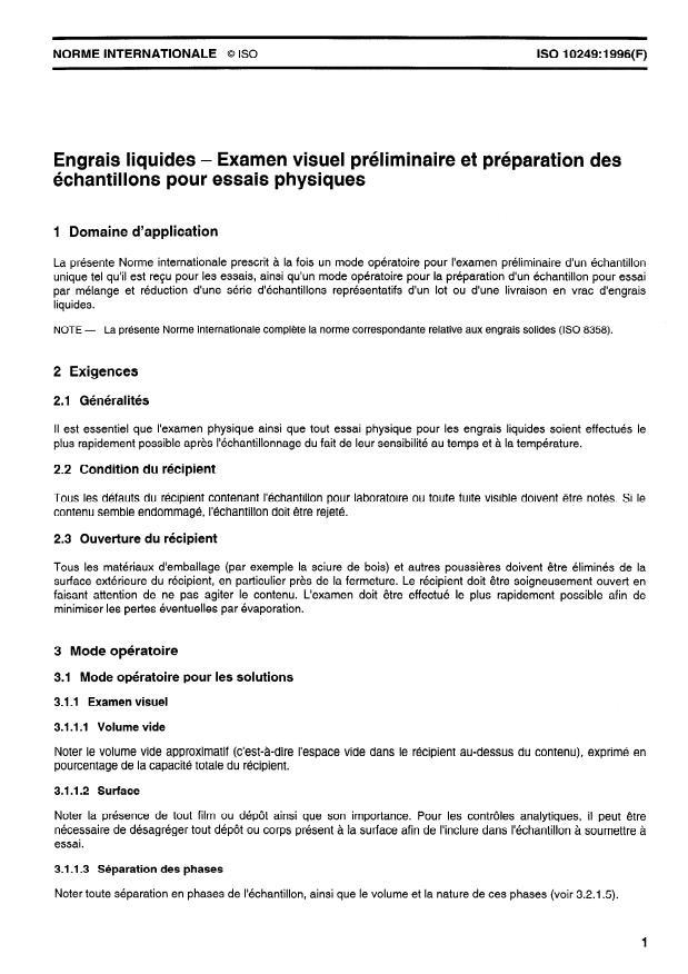 ISO 10249:1996 - Engrais liquides -- Examen visuel préliminaire et préparation des échantillons pour essais physiques