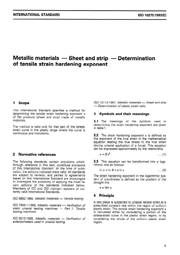 ISO 10275:1993 - Metallic materials -- Sheet and strip -- Determination of tensile strain hardening exponent