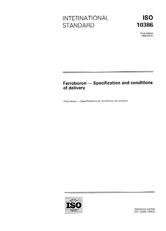 ISO 10386:1994 - Ferroboron -- Specification and conditions of delivery