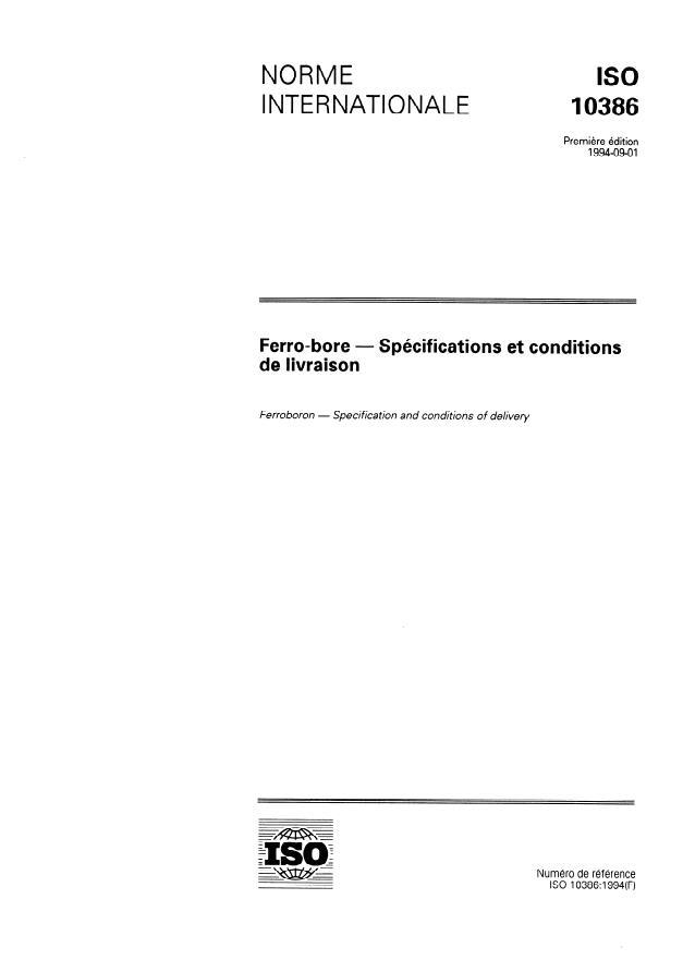 ISO 10386:1994 - Ferro-bore -- Spécifications et conditions de livraison
