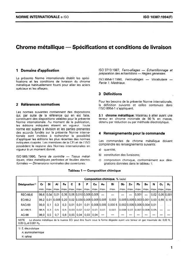 ISO 10387:1994 - Chrome métallique -- Spécifications et conditions de livraison