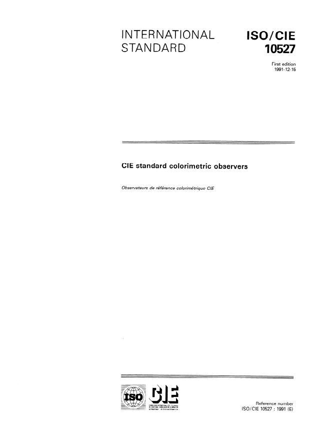 ISO/CIE 10527:1991 - CIE standard colorimetric observers