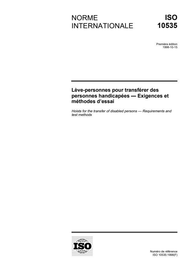 ISO 10535:1998 - Leve-personnes pour transférer des personnes handicapées -- Exigences et méthodes d'essai