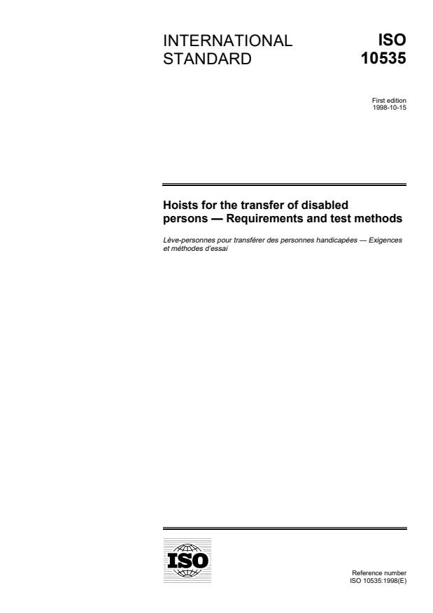 ISO 10535:1998 - Hoists for the transfer of disabled persons -- Requirements and test methods