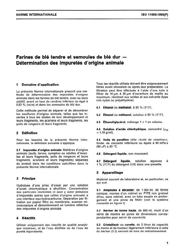 ISO 11050:1993 - Farines de blé tendre et semoules de blé dur -- Détermination des impuretés d'origine animale