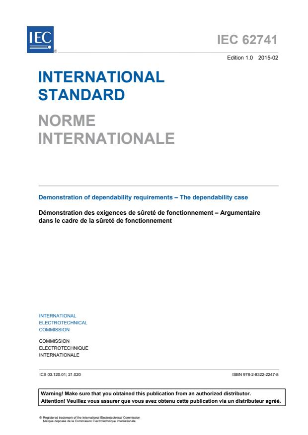 IEC 62741:2015 - Demonstration of dependability requirements - The dependability case