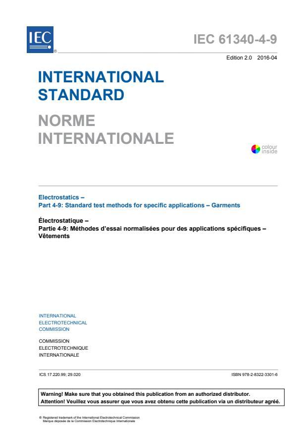 IEC 61340-4-9:2016 - Electrostatics - Part 4-9: Standard test methods for specific applications - Garments