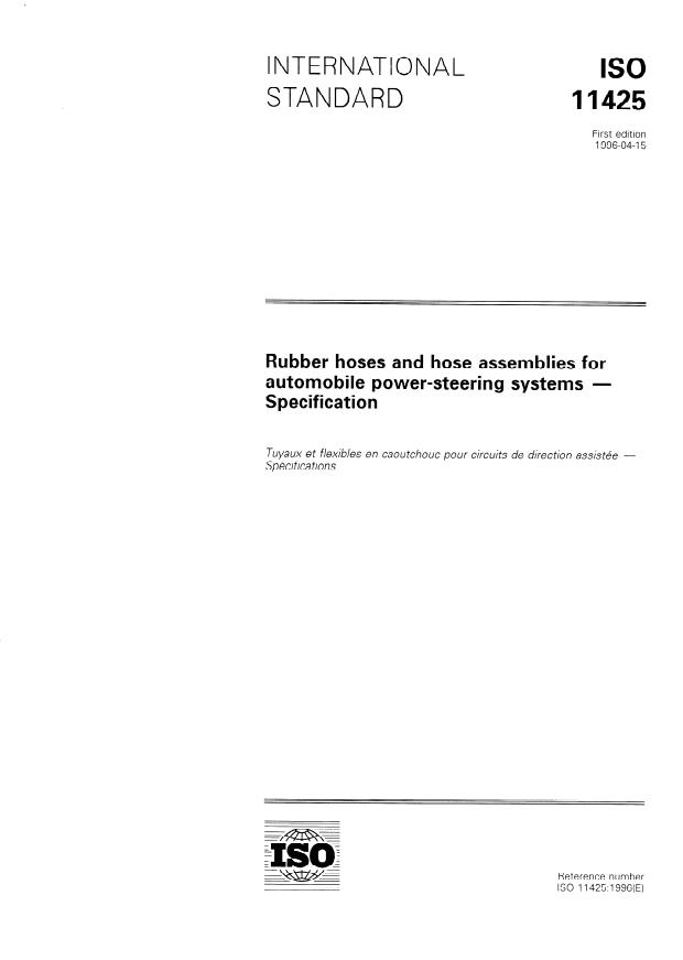 ISO 11425:1996 - Rubber hoses and hose assemblies for automobile power-steering systems -- Specification